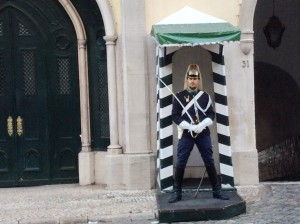 A handsome guard at the Carmo Square.