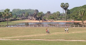 In the outer enclosure of Angkor Wat. It's a big ground to walk in. There are small stores there, too, and opportunity to ride small horses.