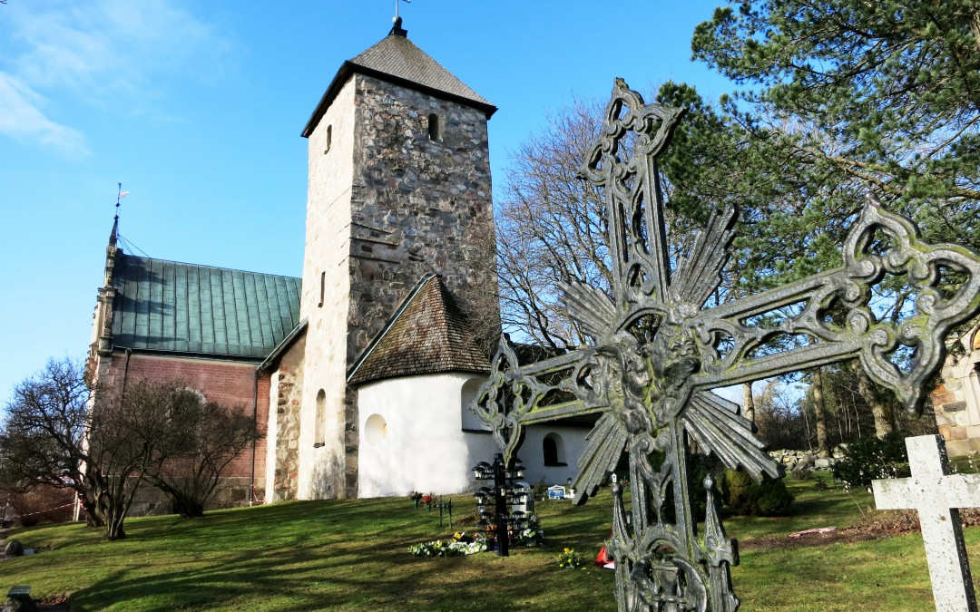 The vandalised Norrsunda church