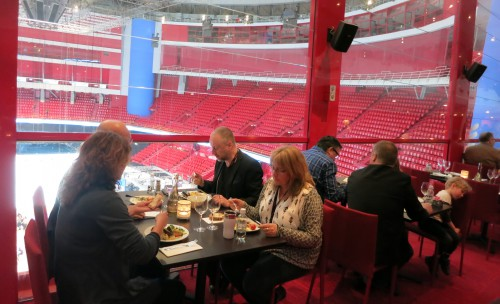 Lunch and breakfast area, with a view of the arena.