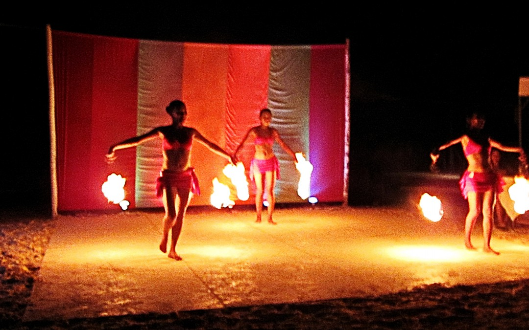 Fire dancers warmed the night